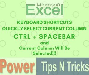 Select Current Column in Microsoft Excel and Google Sheet