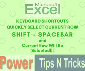 Select Current Row in Microsoft Excel and Google Sheet