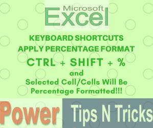 Keyboard Shortcut for Percentage Format, Excel and Google Sheet.